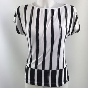 St. John Black And White Stripe Top Size XS